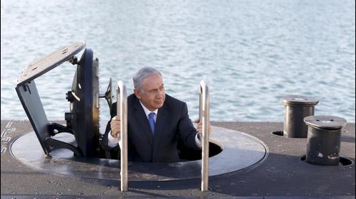 """ראש הממשלה בנימין נתניהו בטקס קבלת הצוללת החדשה של צה""""ל, אח""""י רהב. ינואר 2016"""