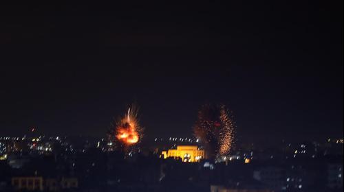 """תמונות מתקיפת צה""""ל ברצועת עזה בעקבות שיגור הרקטות לשטח ישראל, 24 בפברואר 2020"""