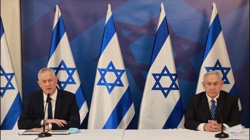 ראש הממשלה בנימין נתניה ושר הביטחון בני גנץ ובהצהרה לתקשורת, בקריה בתל אביב, 27 ביולי 2020