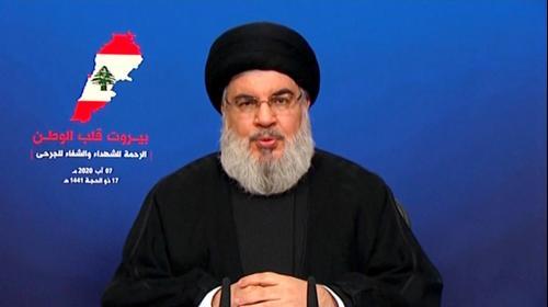"""מזכ""""ל חיזבאללה חסן נסראללה בנאום לעם הלבנוני בנושא הפיצוץ בביירות. 7 באוגוסט 2020"""