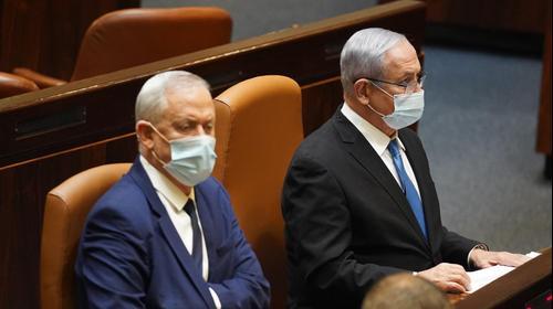 ראש הממשלה, בנימין נתניהו ושר הביטחון, בני גנץ במהלך מליאת הכנסת 24 באוגוסט 2020