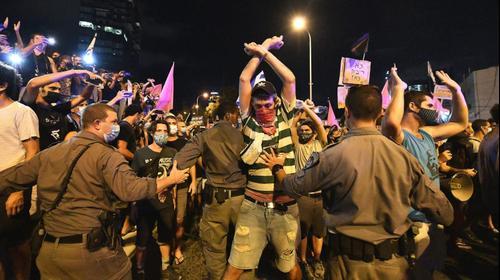 """הפגנת הדגלים השחורים נגד רה""""מ, נתניהו בתל אביב 1 באוקטובר 2020"""