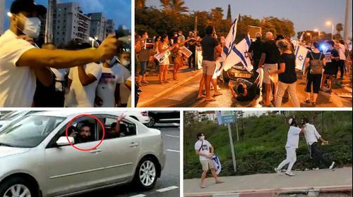 אדם מרסס גז מדמיע על מפגינים נגד ראש הממשלה בנימין נתניהו בחולון. 13 באוקטובר 2020