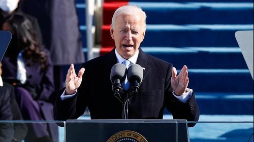 ג'ו ביידן במהלך נאומו בטקס ההשבעה 20 בינואר 2021. רויטרס