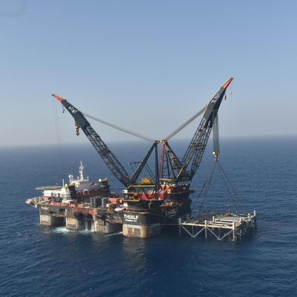 """ראש הממשלה בנימין נתניהו ושר האנרגיה יובל שטייניץ ישתתפו באירוע לרגל הגעת החלק התחתון של אסדת הגז """"לווייתן"""", 31 בינואר 2019"""