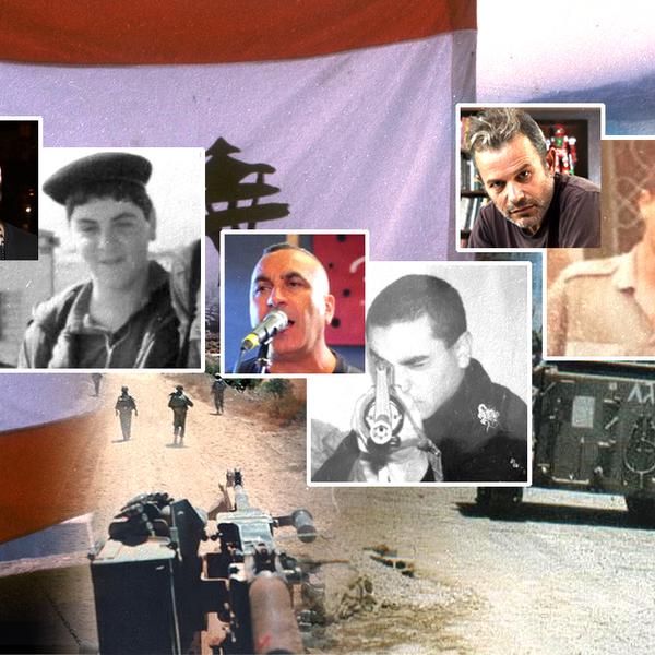 פרוייקט 20 שנה ליציאה מלבנו - אמנים נזכרים בשירותם בלבנון. בתמונה: השחקן רמי הויברגר והמוזיקאים ארקדי דוכין ושלומי ברכה בתמונות מתקופת שירותם במלחמת לבנון הראשונה