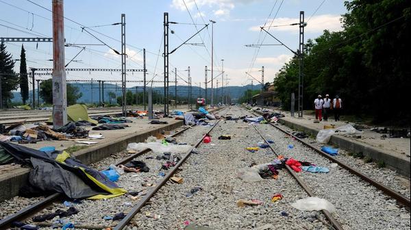פינוי מחנה הפליטים באידומני, יוון, 26 במאי 2016
