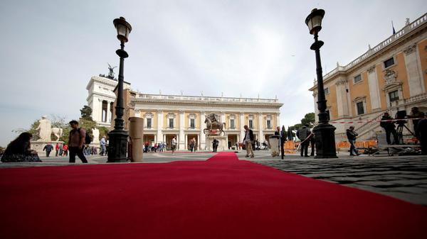 הכנות לוועידת מנהיגי האיחוד האירופי בעיריית רומא, איטליה, 25 במרץ 2017