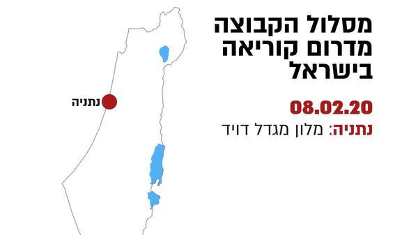 מסלול הביקור של הקבוצה הקוריאנית בישראל