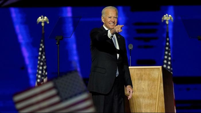 נאום הניצחון של הנשיא הנבחר בארצות הברית ג'ו ביידן בדלוואר. 8 בנובמבר 2020