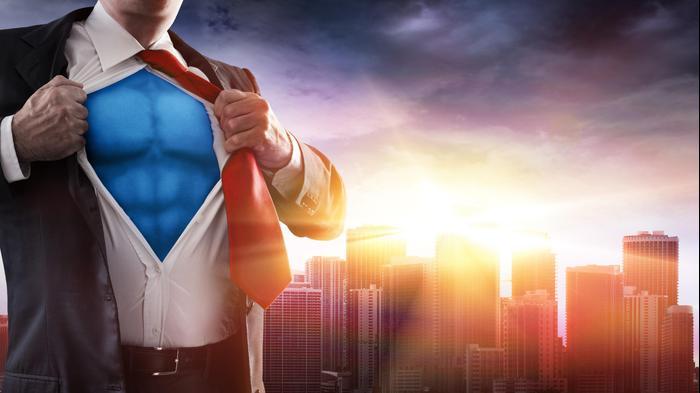 איש עסקים סופרמן. ShutterStock