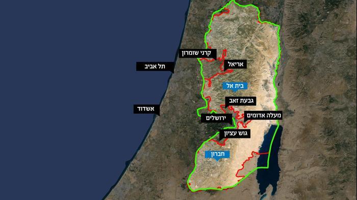 סנסציוני כך נראית מפת פלסטין על פי הצעת נתניהו - וואלה! חדשות SV-32