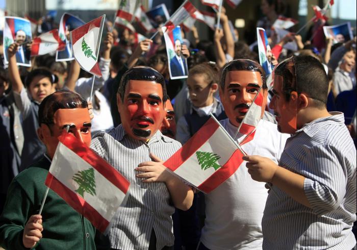 חגיגות לאחר מינוי ראש ממשלת לבנון סעד חרירי, צידון, 3 בנובמבר 2016 (AP)