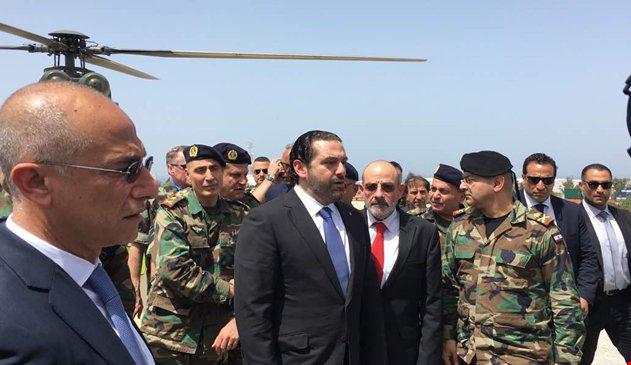 ראש ממשלת לבנון סעד אל-חרירי בסיור בסמוך לגבול עם ישראל, 21 באפריל 2017 (צילום מסך)