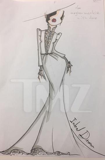 סקיצות סקיצה שמלה שמלת כלה מייגן מרקל ענבל דרור (צילום מסך , TMZ)