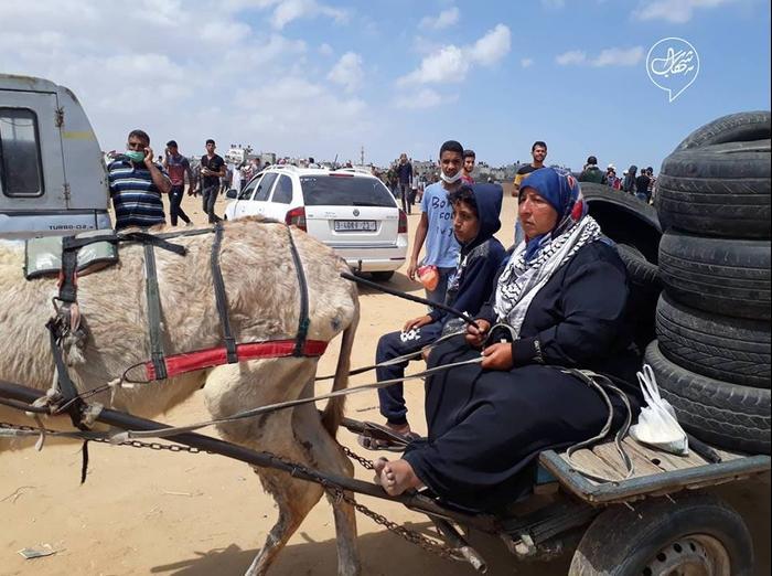 עימותים בגבול רצועת עזה הפגנות פלסטינים נכבה ה-14 במאי 2018 (מערכת וואלה! NEWS , -)