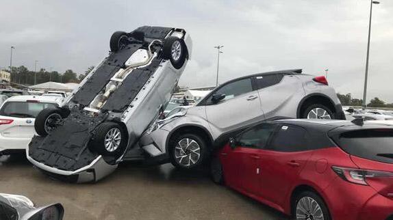נזקי הסופה שהיתה בראם אצל יבואן טויטה 31 במרץ 2019